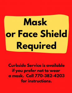 Beginning July 27th a mask is required at all library facilities.