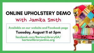 Upholstery Demo Aug 11th at 5pm