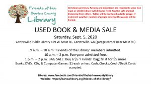 Used Book Sale Sept 5, 2020